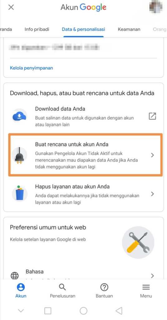 Buat rencana untuk akun Google