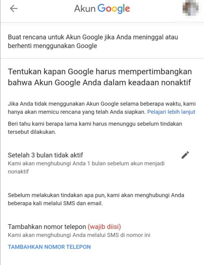 masa tunggu setelah akun Google tidak aktif