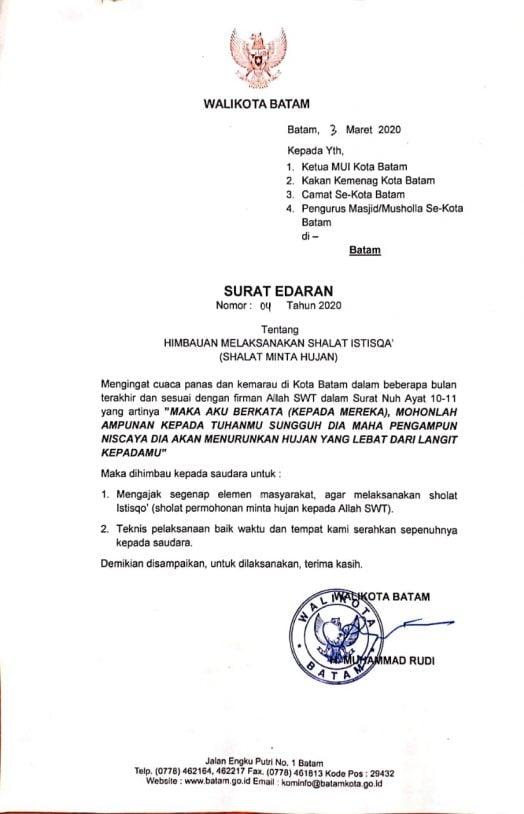 Surat Edaran Wali Kota Batam