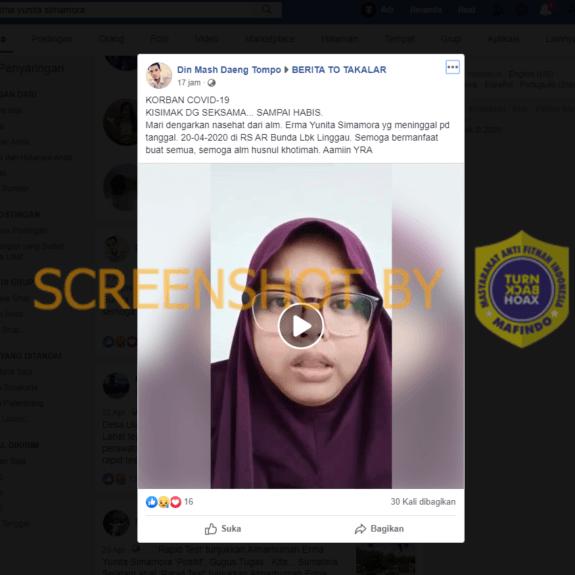 Video Nasehat dari Pasien Corona Erma Yunita Simamora