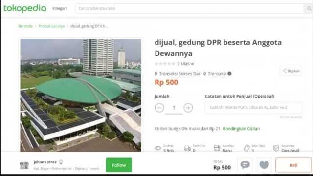 Gedung DPR RI Dijual
