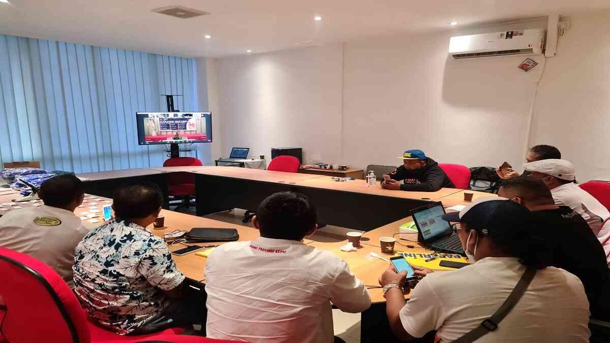 meeting secara virtual terkait drawing futsal